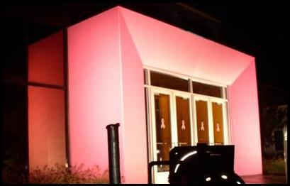 Outdoor Architectural Lighting - Night lighting for colored entranceway to building